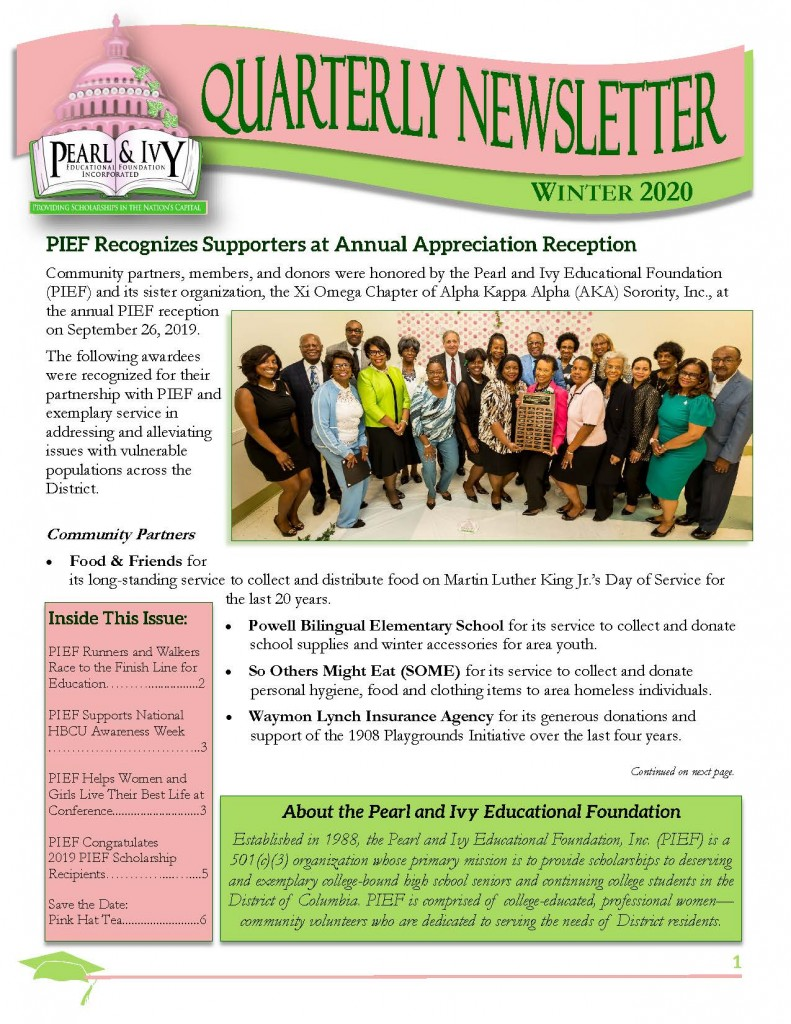 PIEF newsletter winter 2020 cover